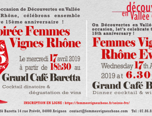 Invitation 15ème anniversaire Femmes Vignes Rhône